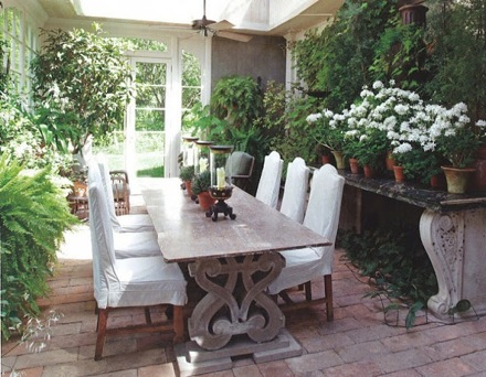 A great example of this, is Bunny Williams' patio area. She has a lovely  huge console table that can easily transform into a buffet table when  entertaining. - Outdoor Console Table The Long Table